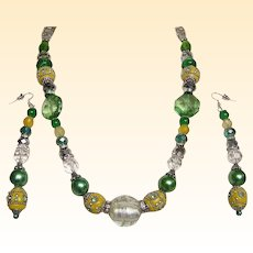 BOMBAY JADE Color Necklace & Drop Earring Set..Mixed Of Glass, Enamel, Crystal, & Lucite Beads..ONE OF A KIND!