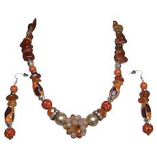 INDIAN SPICE..Necklace & Drop Earring Set..Mix Of Carnelian..Enamel..Glass..Faux Pearl..Rhinestone..Metal..& Plastic..ONE OF A KIND