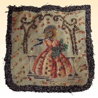 Tapestry & Beaded Needlework Victorian Lady..Hand Made