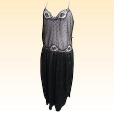 Cine Star Black Nylon Nightgown With Lace & Polka Dot Net Bodice..Satiney Black Tricot Gathered Skirt...Size M/L