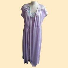 Vintage Nightgown Robe Set Lavender Nylon Tricot Applique Size Small