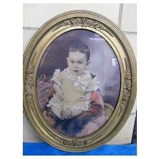 Beautiful Baby Boy..Oval Framed PHOTOGRAPH..Turn of Century