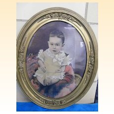 Beautiful Baby Boy..Oval Framed PHOTOGRAPH..Turn of Century