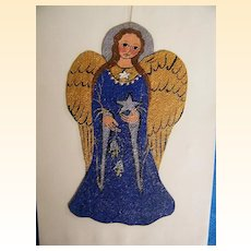Medieval Angels..Hand Painted Acrylic On Canvas..Ornaments..Blue Angel..Green Angel..2 Angels Available