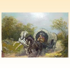 "Old West Oil Painting...Man Traveling In Covered Wagon..Signed..16"" X 19.5"""