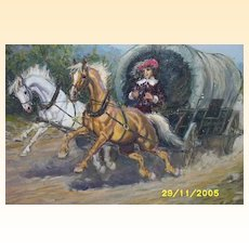 "Old West Oil Painting...Covered Wagon With Horses...Man In Red Hat...Signed...16"" X 19.5"""