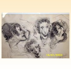 The Mask Maker / Original Ink And Wash Drawing Of Marcel Marceau By Tina Mackler