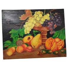 """Still Life Fruit Oil Painting..Brightly Colored Assorted Fruit On Dark Ground..Unframed..13.5"""" high x 18"""" wide"""