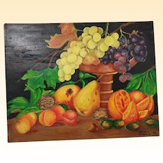 "Still Life Fruit Oil Painting..Brightly Colored Assorted Fruit On Dark Ground..Unframed..13.5"" high x 18"" wide"