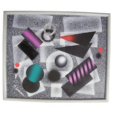 """Mid-Century Modern Geometric Abstract Painting..Acrylic..Signed 25"""" X 21""""..Excellent Condition"""