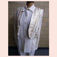 3 Piece Pantsuit..Harem Pants..Long Over-Blouse..Vest..Gold Passementery Trim..Size L..Helene Designer Sportswear..1980's..USA