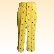 Men's Golf Slacks / Pants..Yellow Corduroy With Embroidery..1960's