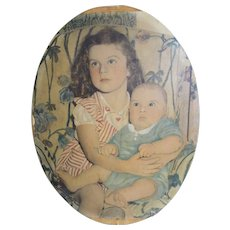 Vintage Oval 1942 Colored Photograph On Canvas of Sister Holding Baby Brother..On Canvas..Mounted To Board