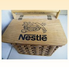 Nestles Picnic Hamper / Basket..Woven Wood..Wood Lid With Nestles Printed Across With 3 Birds..Excellent Condition