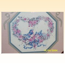 Print By Barbara Mock Of A Heart Of Pink Roses And Robins In A Carved Wood Frame