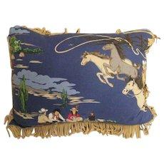 Western / Cowboy Print With Fringe Decorative Cotton Pillow
