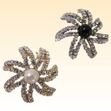 Twin Starburst Scatter Pins By PCI...Clear Rhinestones With Faux Pearl & Navy Glass Cabochon Center