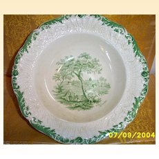 Antique...Ridgways England Vegetable Bowl A Rest By The Way Dicken's Old Curiosity Shop Green Transferware