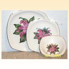 Vintage Paden City Pink Tiger Lily..SQUARE Shaped.. 3-Piece Set..Dinner Plate..Dessert Plate..Berry Bowl....4-Sets Available