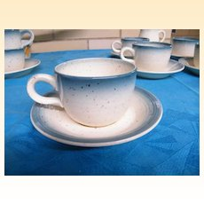 LOT /  Franciscan Country Craft / Blue Skies..Aqua Blue Ombre rim 6 Sets Cup/Saucers & Creamer..13 Pieces..Excellent Condition