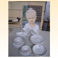 """Vintage Richard Ginori..Restaurant Ware..Letter """"G"""" Design..Dessert Set..15 Piece Set"""