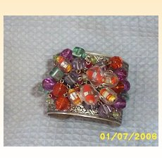 Etched Silver Plate Cuff Bracelet With Colorful Glass Bangle Beads