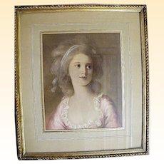 Framed Victorian Lady Print..From Paris Flea Market