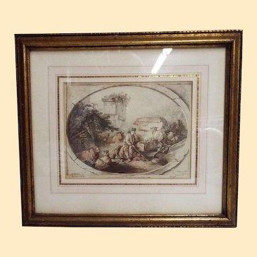 Engraving... L'Apres Midi... JB Huet after Gilles Demarteau #548...Antique Gold Wood Frame