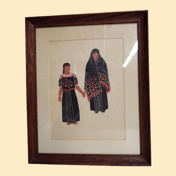 Mexican Costumes #1 By Carlos Merida...Signed...Silk Screen 1940