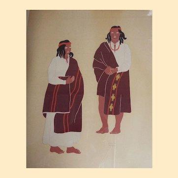 Silk Screen Mexican Costumes #2... Man & Women in Brown Red Stripe...By Guatemalan Artist Carlos Merida...1940...Oak Frame