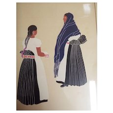 Guatemalan Artist Carlos Merida...Silk Screen....Mexican Costumes # 3...Women In Black...1940