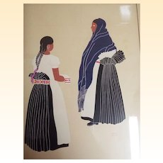 Guatemalan Artist Carlos Merida...Silk Screen....Mexican Costumes # 3...Women In Black...1940