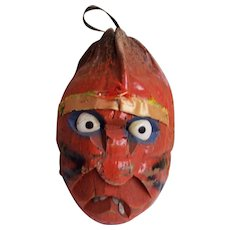 1970's Pumpkin Face Hand Carved From A Coconut...One Of 2