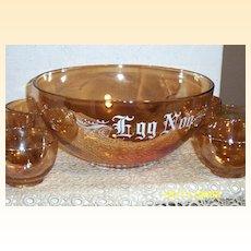 Vintage Copper Tint  Egg Nog  Set  With  Six  Cups