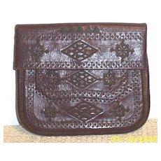 Vintage Arts & Crafts Tooled Leather Bag With Silk Embroidered Geometric Design...Silk Cord Shoulder Strap