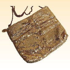 Draped Gold Mesh Evening Purse With Gold Tone Chain..Zipper Opening..Rhinestone Decoration