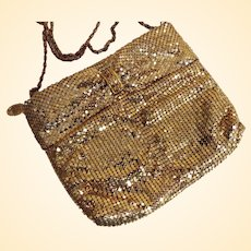 Draped Gold Mesh Evening Purse With Gold Tone Chain..Zipper Opening..Rhinestone Decoration