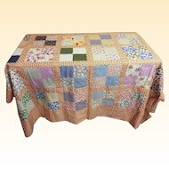"Quilt Top Cotton Patchwork Squares..80"" x 80""...Interesting Prints"