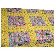 Yo-Yo Quilt...Very Vintage...Never Used..Like New..Lined / Quilted in Pink Percale