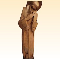 "Hand Carved Wood Statue Of Saint Francis With Two Birds...Signed On Base..24"" Tall"