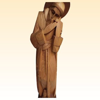 """Hand Carved Wood Statue Of Saint Francis With Two Birds...Signed On Base..24"""" Tall"""