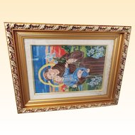 Religious Silk Needlework  Framed Of Saint Joseph Holding Baby Jesus..Vintage..Excellent Condition.
