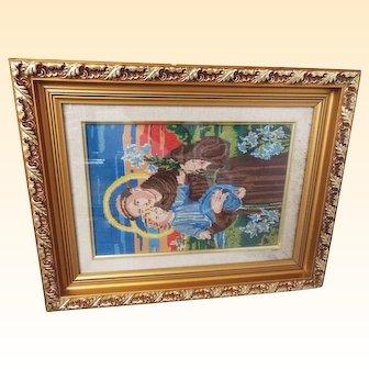 Religious Silk Needlework  Framed Of Saint Joseph Holding Baby Jesus..Vintage..Excellent Condition.