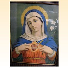 Wood Frame Early 20th Century Framed Lithograph Of Sacred Heart Of Mary..Wood Frame