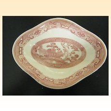 Red / Pink Transferware Soup Or Vegetable Bowl..Diamond Shaped..Restaurantware..Sterling China Made For York Kitchen, NYC