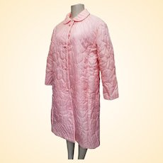 Pink Hand Guided Pink Quilted Bath Robe From B Altman & Co....Medium...Polyester...Hong Kong