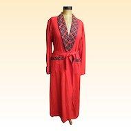 Pendleton Long Robe...Solid Red / Red Royal Stuart Plaid Trim..Shawl Collar & Cuffs