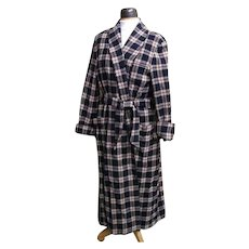 DKNY Wool Blanket Plaid Long Robe..Navy With Light Gray Heather Ground & Wine Over Check..Medium..Runs Large