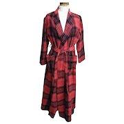 Robe..1970's Red / Black Blanket Plaid..Shawl Collar..Tie..B Altman..China..Size Small