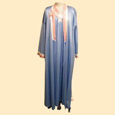 Vanity Fair Robe Gown Set..Tricot..Blue With Coral & White Quilted Accents..Robe Large / Gown Medium..Excellent Condition